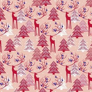 medium_Deer Reiner Birds singing_ the Christmas Stars of Woodland_Christmas Holidays Traditions Red blue bird Toile