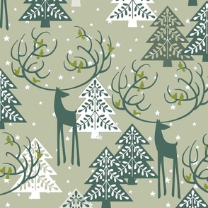 Deer Reiner Birds singing_ the Christmas Stars of Woodland_Christmas forest Green Toile