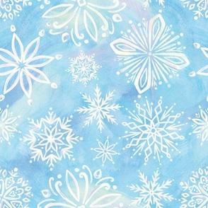 Iridescent Snowflakes - Blue