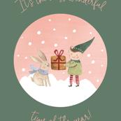 26x36 blanket elf and bunny wonderful time of year green bg