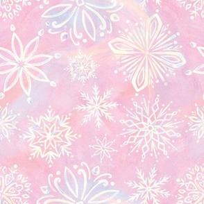 Iridescent Snowflakes - Pink
