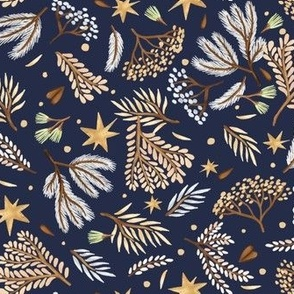 Forest and stars on a dark blue background