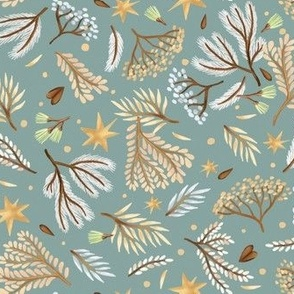 Forest and stars on a light blue background