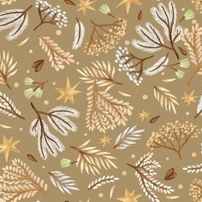 Forest and stars on a beige background