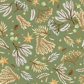 Forest and stars on a light green background