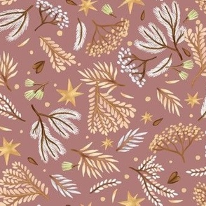 Forest and stars on a pink background