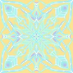 Irridescent Ice on bright yellow