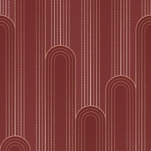 Art Deco Rounded Columns - burgundy red - rose gold faux foil - large scale