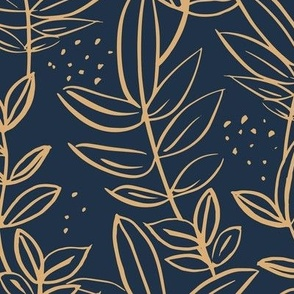 Messy raw ink leaves winter garden branches and spots wild boho forest gold on navy blue LARGE