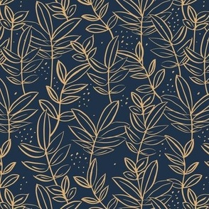 Messy raw ink leaves winter garden branches and spots wild boho forest gold on navy blue