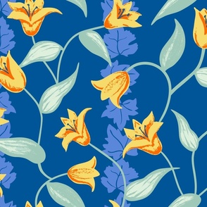 Retro Tulips and Ivy Large