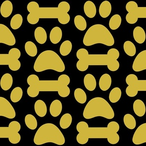 Black and Gold Dog Bones and Paws