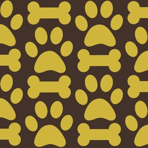 Brown and Gold Dog Paw and Bone