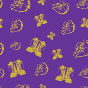 Purple and Gold Boots with Dog