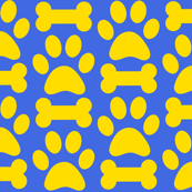 Royal Blue and Gold Dog Paw and Bone