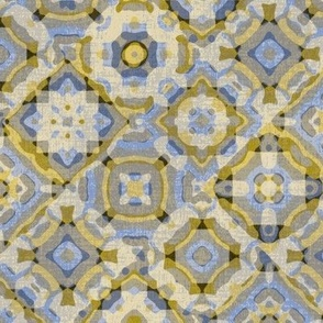 Water Tiles//Gold & Blue//Large Scale