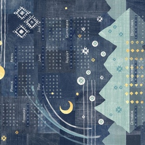 Aztec Vista Calendar 2022 | Denim patchwork with mountains in teal and gold, moon and stars boho fabric calendar.