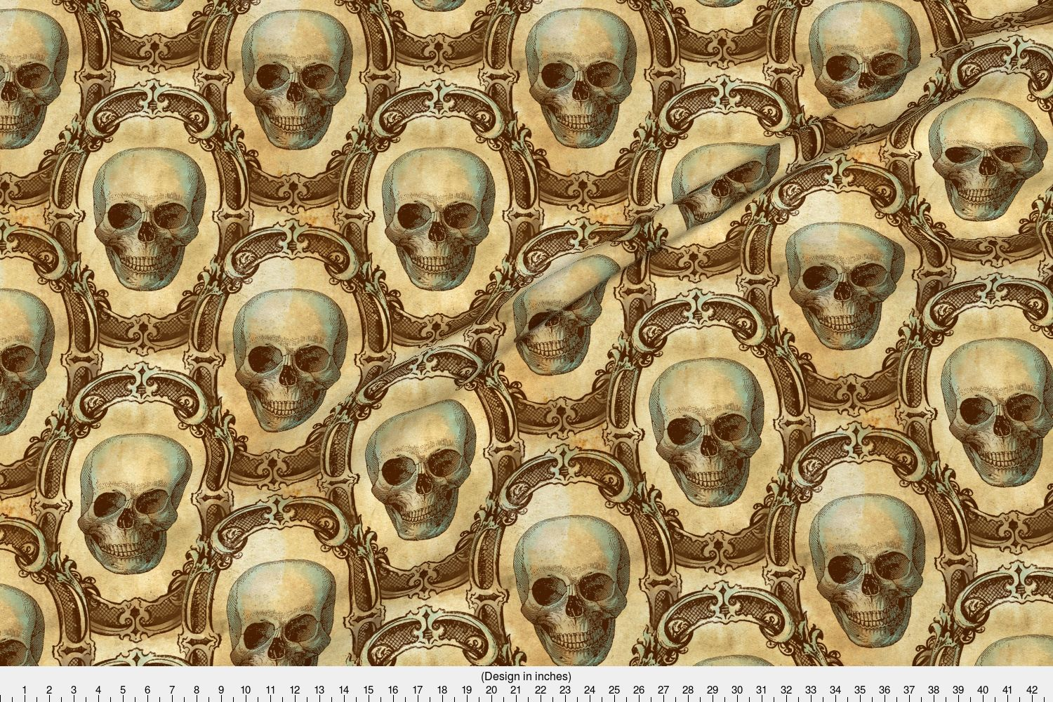 halloween skulls victorian antique gothic fabric printed