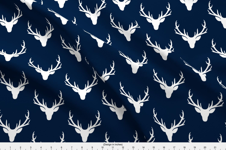 086b31dec8ce Deer Deer Head Buck Woodland Antlers Navy Baby Fabric Printed by ...