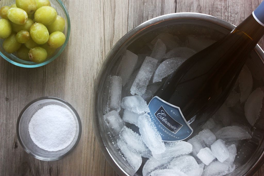 To chill wine in 6 minutes, place bottle in a bucket of ice, water and salt