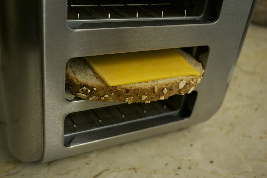 Flip your toaster on its side to make easy grilled cheese