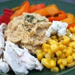 Corn Salad With Hummus, Feta, Peppers and Chicken