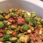 Cheesy, Garlicky Brussels Sprouts with Prosciutto