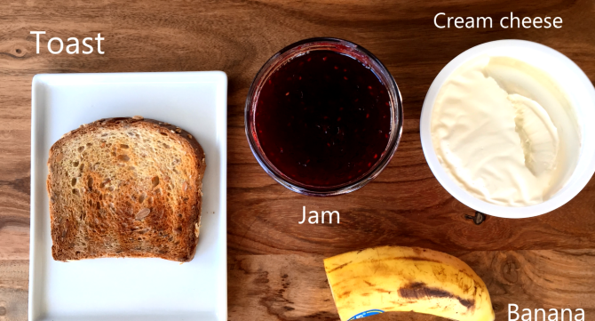 2 tablespoons cream cheese 1 tablespoon jam ½ banana. 1