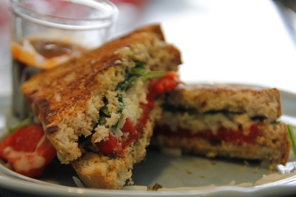 Red Pepper and Pesto Grilled Cheese