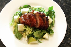 Duck Breast Salad with White Wine Pear Sauce