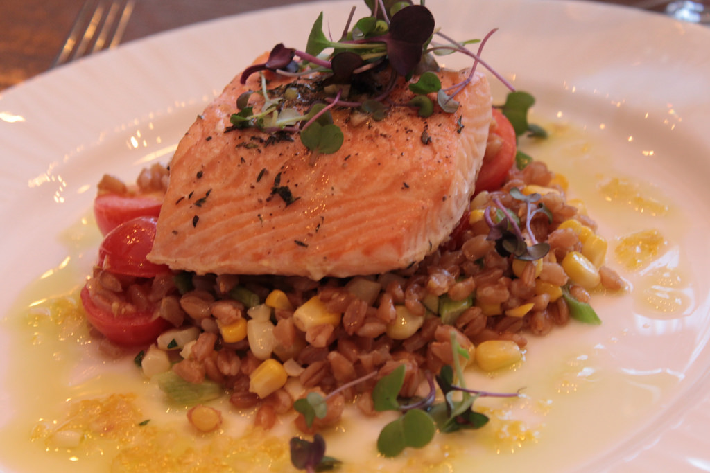 Slow Roasted Salmon with faro, corn, tiny tomatoes, spring onion & lemon vinaigrette