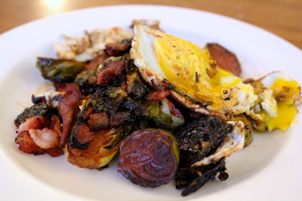 Balsamic Bacon Brussels Sprouts with Fried Egg
