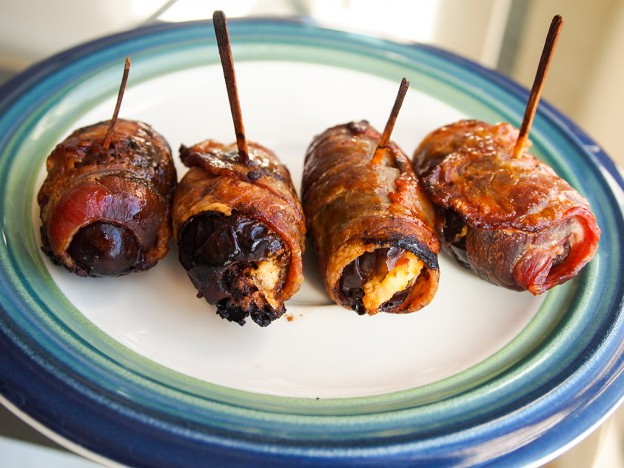 Bacon-Wrapped Dates with Goat Cheese and Rosemary