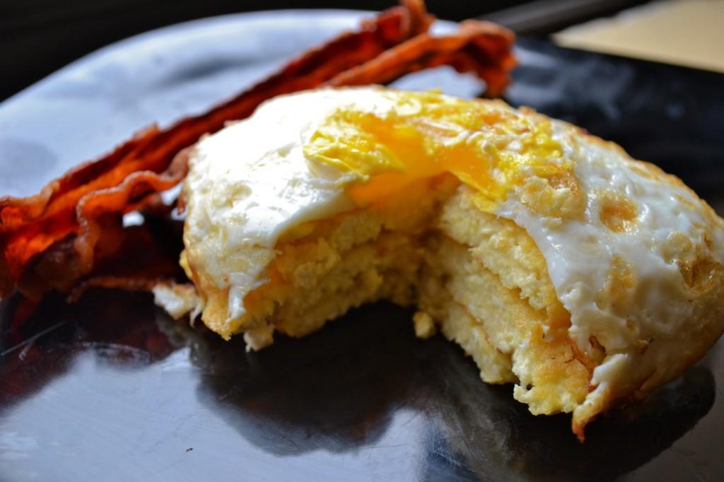 Tofu Pancake with a Fried Egg and Bacon- by Kelda Baljon