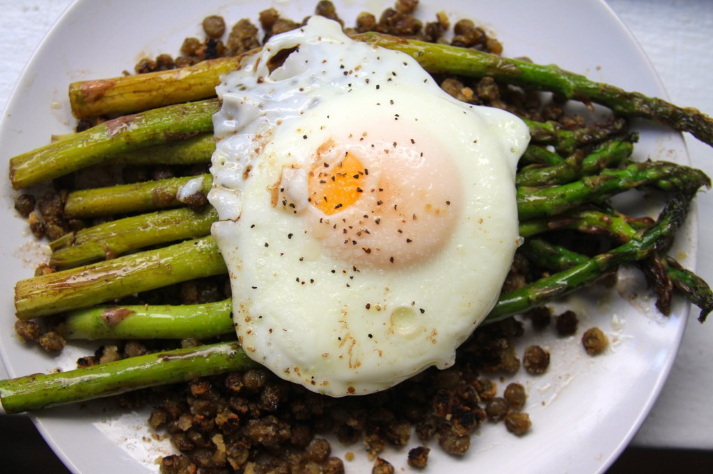 Browned Butter-Balsamic Asparagus with Crispy Lentils and a Fried Egg- by Maggie Gorman
