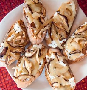 Mushroom, Onion & Goat Cheese Crostini- by Daniel Schuleman