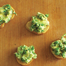 This Crostini with Pea and Avocado Spread Should Be Your Next Party Platter