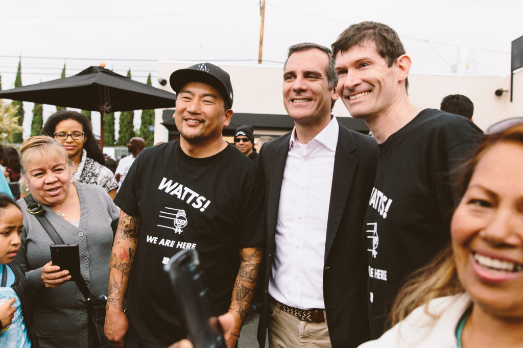 Los Angeles Mayor Eric Garcetti and Chef's Roy Choi and Daniel Patterson. Photo courtesy of welocol.com