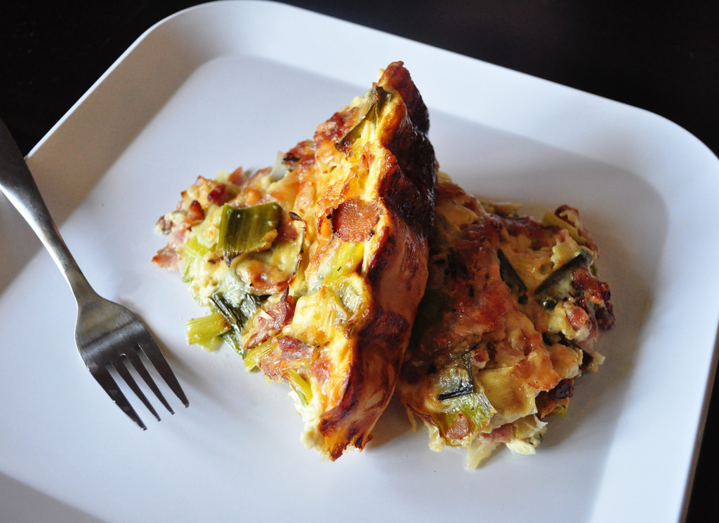 Perfect quiche with leek and bacon.