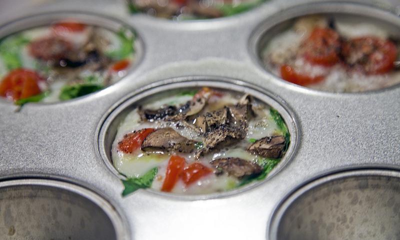 Tomato, Mushroom and Spinach Egg White Bites