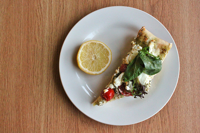 Goat Cheese & Arugula Pesto Pizza