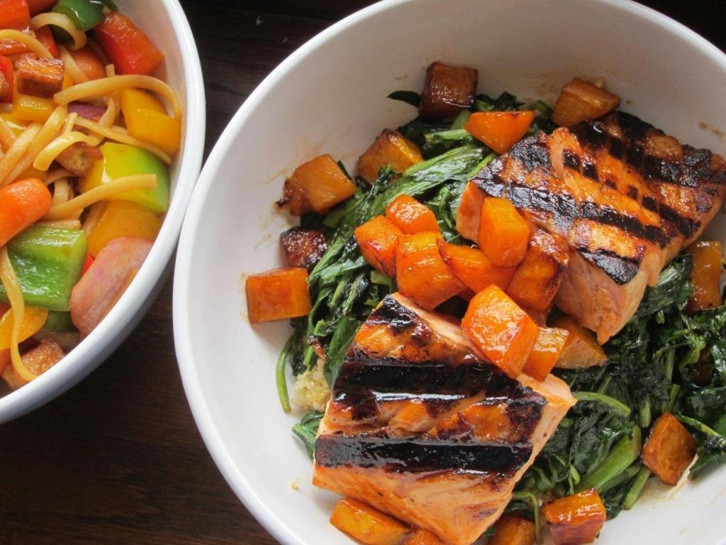 Sesame Greens, Butternut Quinoa & Salmon