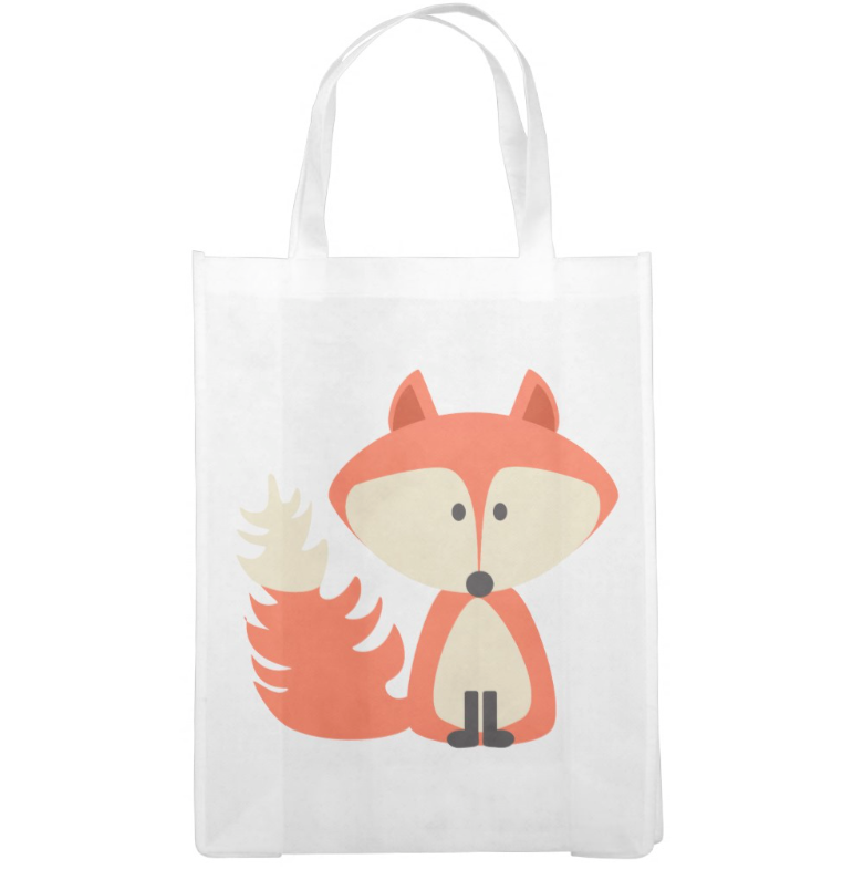 Cute Fox Grocery Bag Reusable Bags