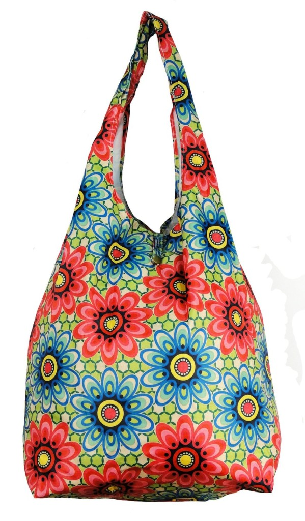 Trendy Sturdy Shopping Tote Bag – Red Blue Flowers Pattern. reusable grocery bags