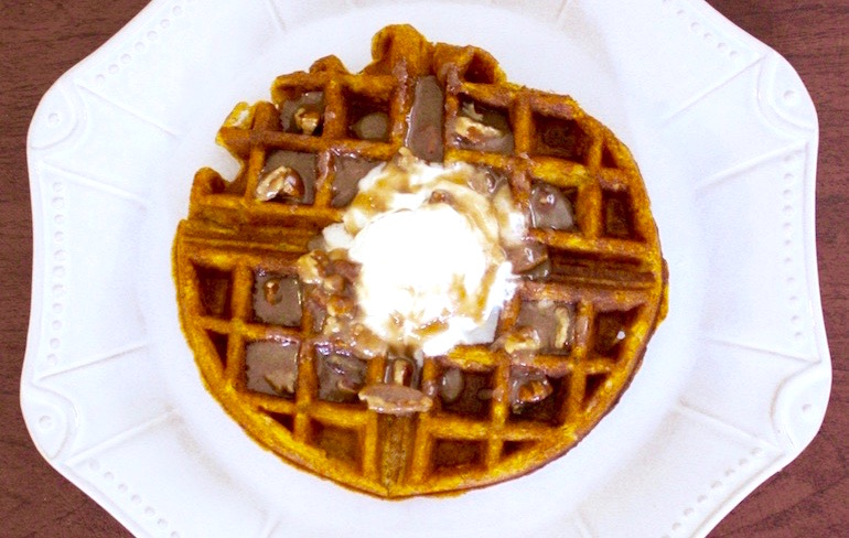 Pumpkin Spice Waffles With Praline Pecan Syrup