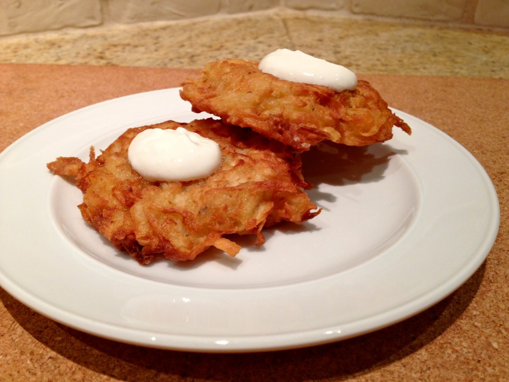 Parsnip Potato Latkes with Horseradish Cream