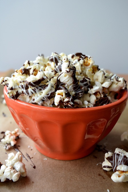 20. Dark Peanut Butter and White Chocolate Popcorn