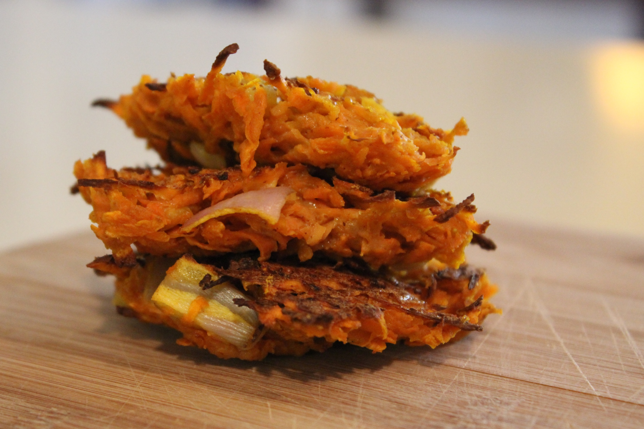 Sweet Potato Latkes with Curried Ketchup