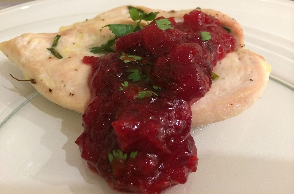 chicken and cranberry sauce