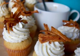 Apple Compote-Filled Cupcakes with Whipped Cream Frosting and Mini Latkes